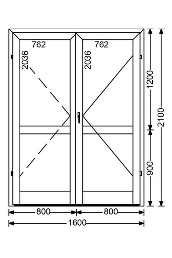 Холодная алюминиевая дверь A50 3.36 м.кв. от компании Комфорт-Сервис