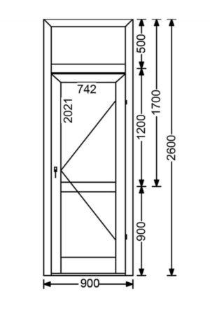 Теплая алюминиевая дверь A68 2.34 м.кв. от компании Комфорт-Сервис