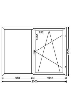 Двухстворчатое алюминиевое окно с двумя поворотными створками A 68 от компании Комфорт-Сервис