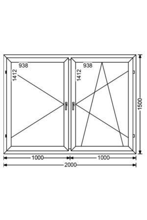 Двухстворчатое алюминиевое окно с поворотной и поворотно-откидной створками А 68 от компании Комфорт-Сервис