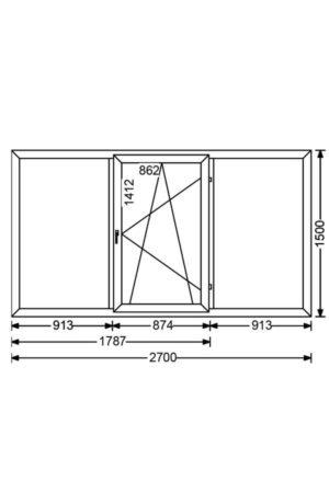 Трехстворчатое алюминиевое окно с поворотно-откидной створкой A 68 от компании Комфорт-Сервис