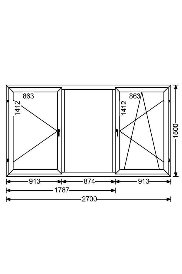 Трехстворчатое алюминиевое окно с поворотной и поворотно-откидной створками A 68