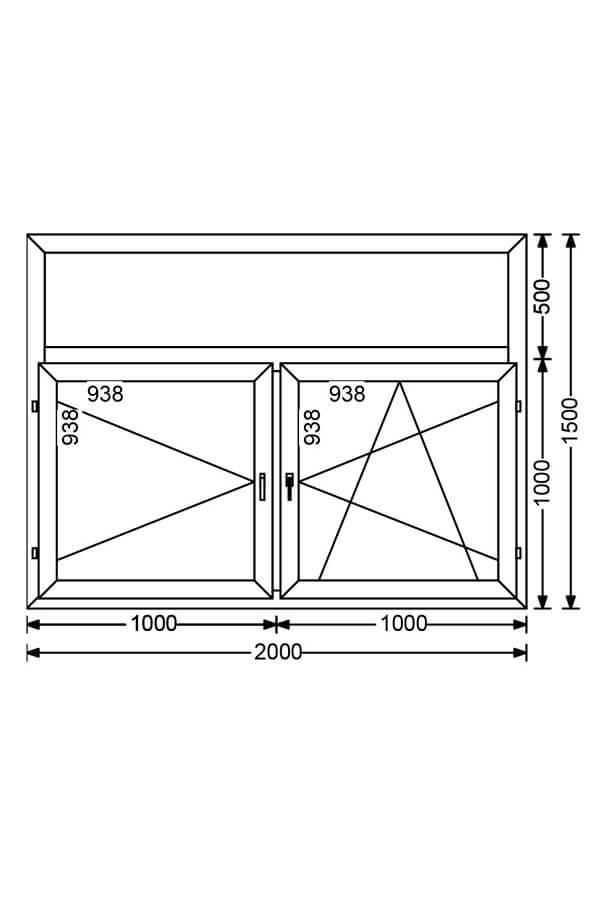Двухстворчатое алюминиевое окно с фрамугой и поворотной, поворотно-откидной створками A 68 от компании Комфорт-Сервис