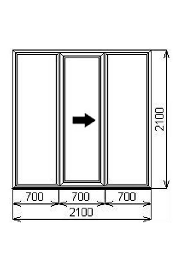 Трёхстворчатая портальная (раздвижная) ПВХ дверь