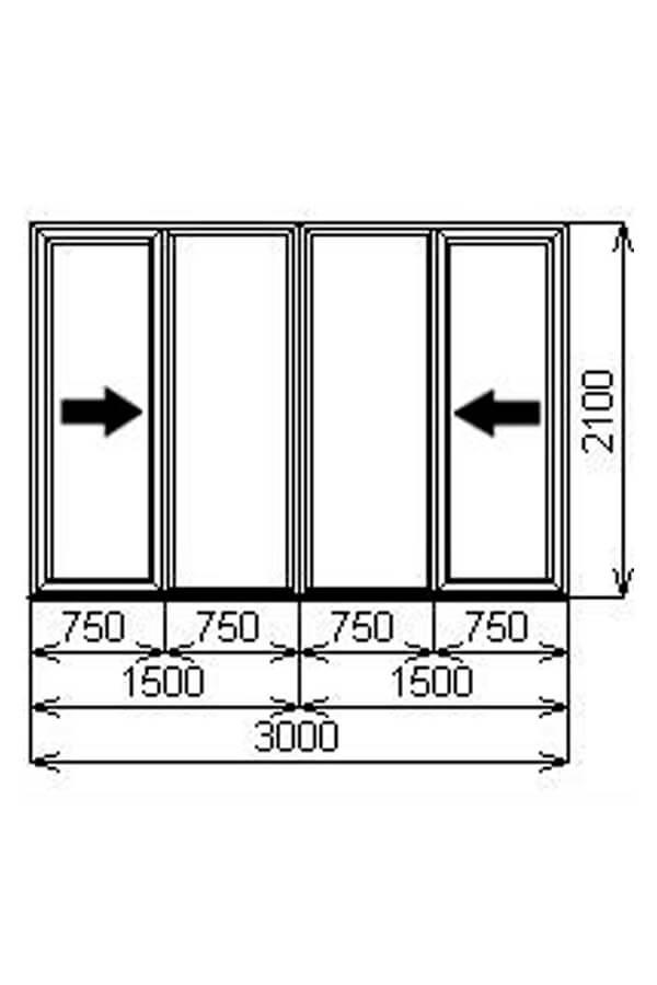 Четырёхстворчатая портальная (раздвижная) ПВХ дверь