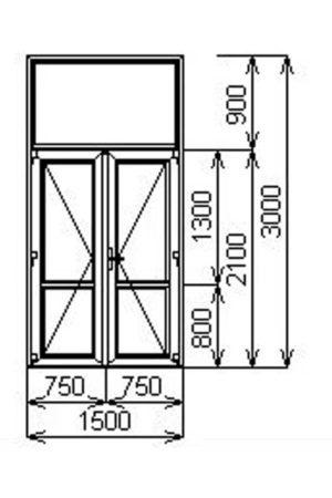 Теплая двустворчатая алюминиевая дверь с порогом и фрамугой V60 от компании Комфорт-Сервис