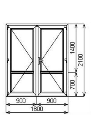 Тёплая двустворчатая алюминиевая дверь с порогом V60 от компании Комфорт-Сервис