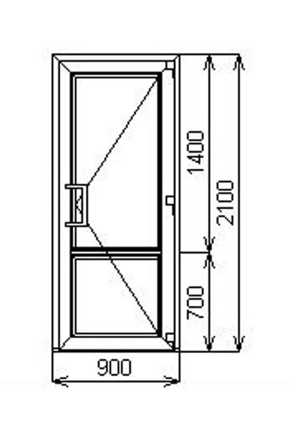 Тёплая одностворчатая алюминиевая дверь с порогом V60 от компании Комфорт- Сервис