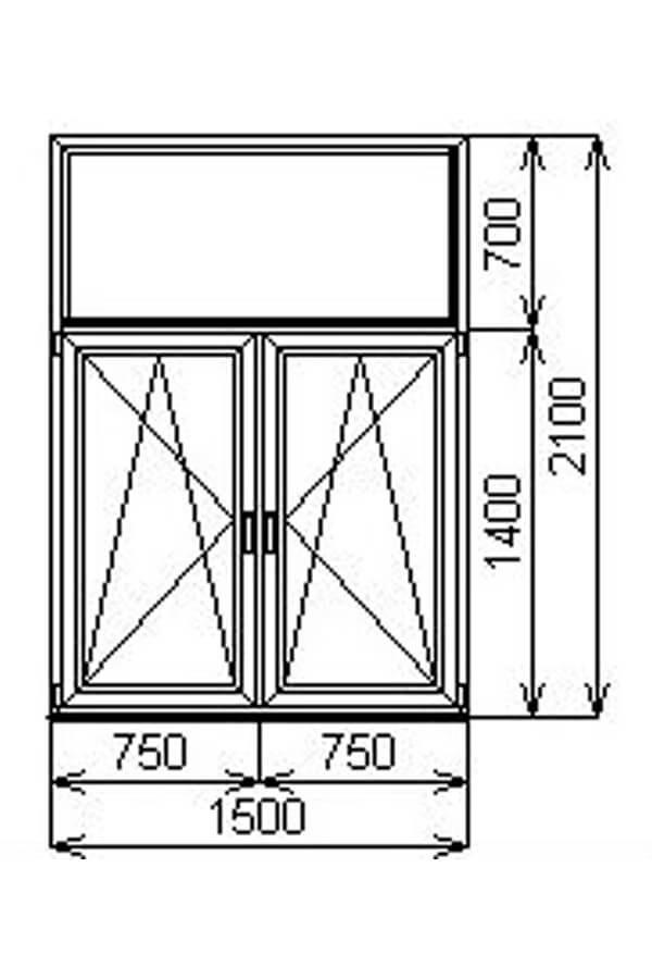 Двустворчатое алюминиевое окно с глухой фрамугой V60 от компании Комфорт-Сервис