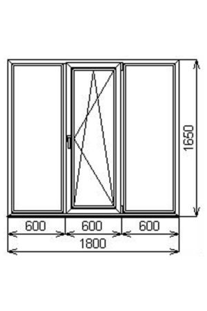 Трехстворчатое алюминиевое окно V60 от компании Комфорт-Сервис